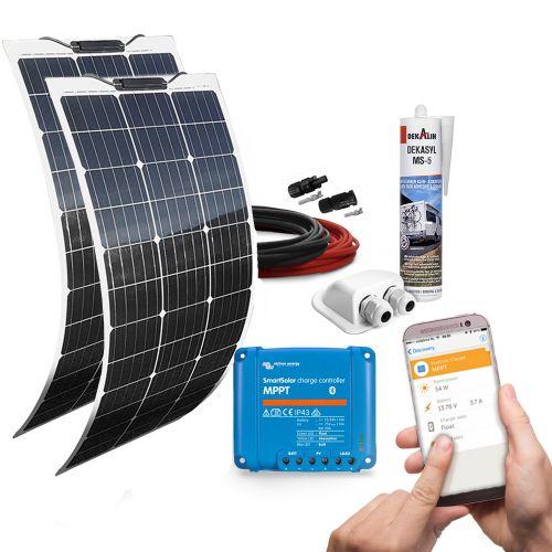 mobilPV 2x80Wp Flex Solaranlage für Wohnmobile / Wohnwagen / Boote