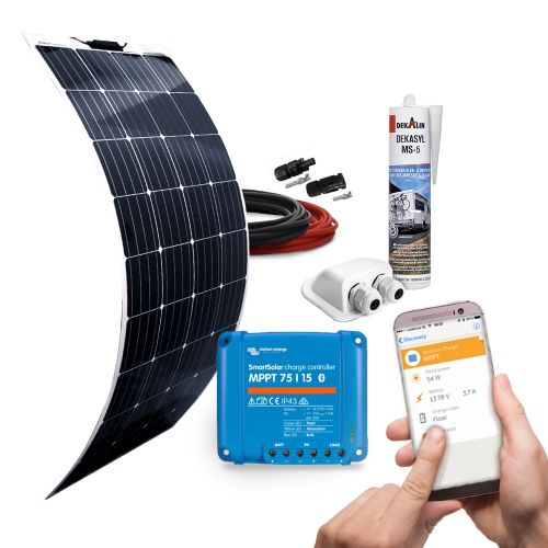mobilPV 160Wp Flex Solaranlage für Wohnmobile / Wohnwagen / Boote