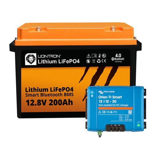 Booster Paket - LIONTRON LiFePO4 12,8V 200Ah + Victron Orion-Tr Smart 12/12-30A Ladebooster