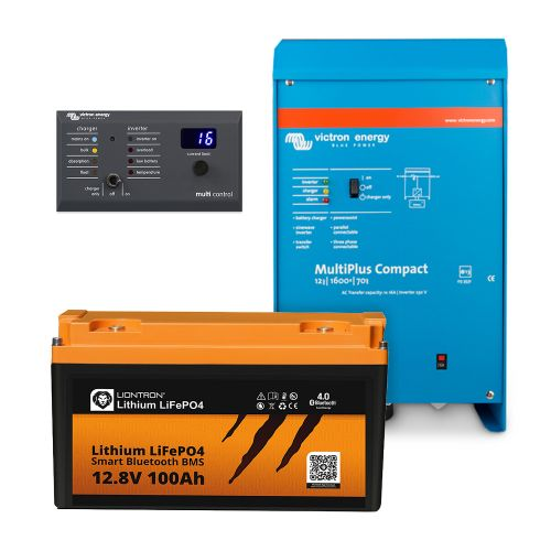 Paket LIONTRON LiFePO4 12,8V 100Ah + Victron Energy MultiPlus 12/1600 mit Digital Multi Control