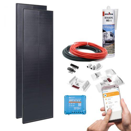 mobilPV 2x100Wp Solaranlage LightAir für Wohnmobile / Wohnwagen / Boote